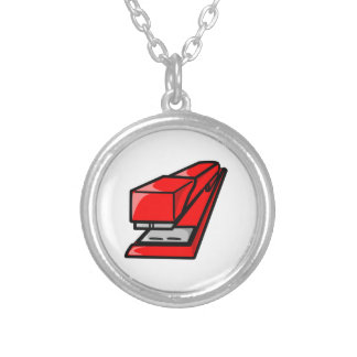 Red Stapler Silver Plated Necklace