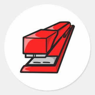 Red Stapler Round Stickers