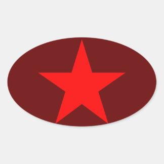 Red star 1 oval sticker