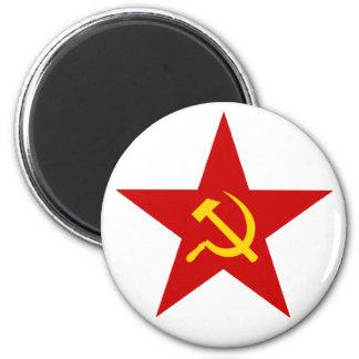 Red Star 2 Inch Round Magnet