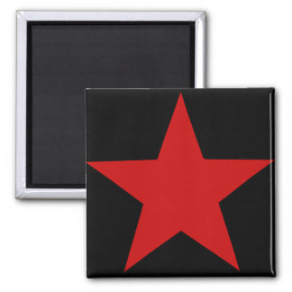 Red Star 2 Inch Square Magnet