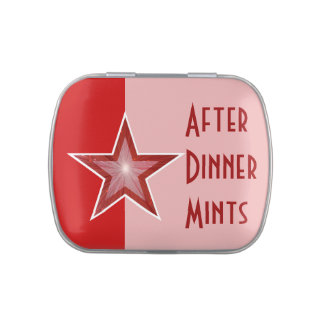 Red Star 'After Dinner Mints' red two tone Candy Tins