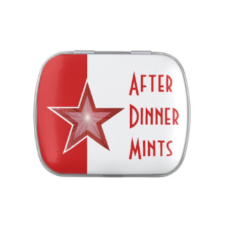 Red Star 'After Dinner Mints' red white Jelly Belly Candy Tin