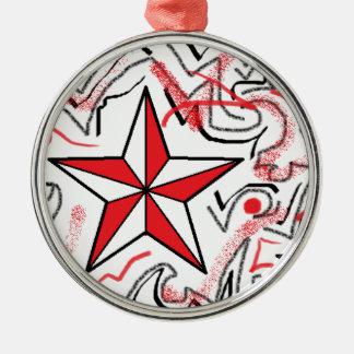 Red Star and Graffiti Metal Ornament