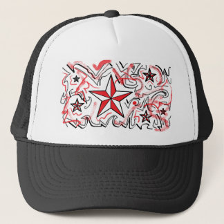 Red Star and Graffiti Trucker Hat