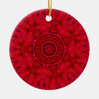 Red Star and Sun Mandala Ceramic Ornament