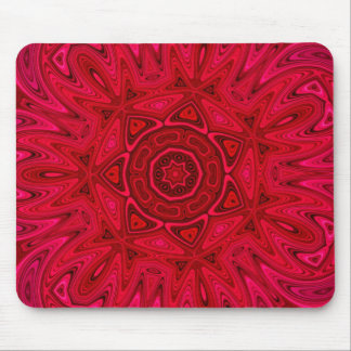 Red Star and Sun Mandala Mouse Pad