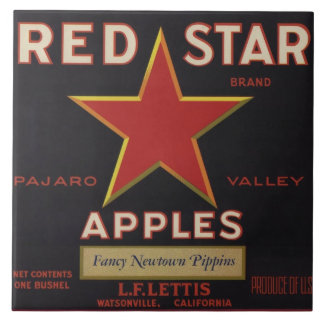 Red Star Apple Crate Label Tile
