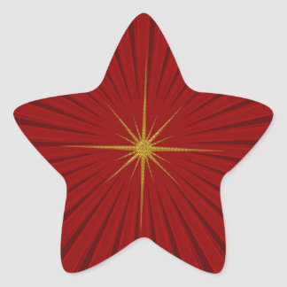 Red Star Burst Christmas Sticker