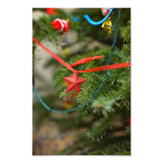 Red star Christmas ornament Photographic Print