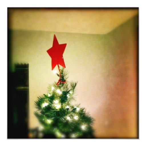 Red star christmas tree card