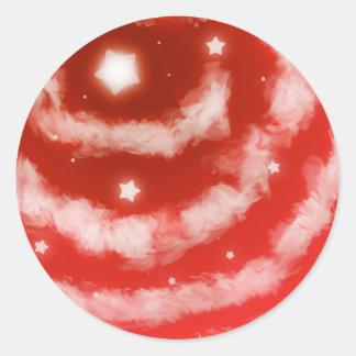 Red Star Clouds Classic Round Sticker