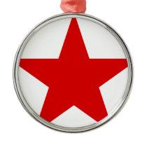 Red Star ★ Communist Socialist Soviet Star Metal Ornament