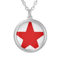 Red Star ★ Communist Socialist Soviet Star Silver Plated Necklace