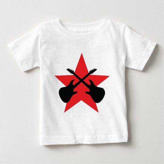 Red Star crossed guitars Baby T-Shirt
