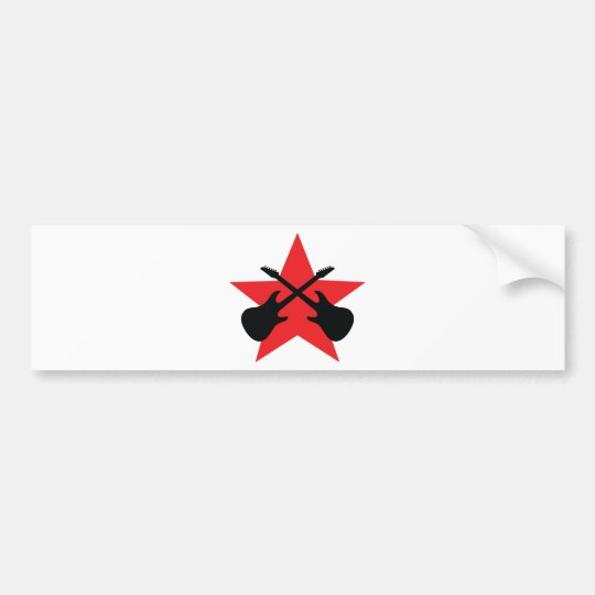 Red Star crossed guitars Bumper Sticker