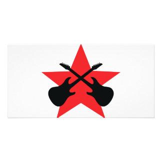Red Star crossed guitars Card