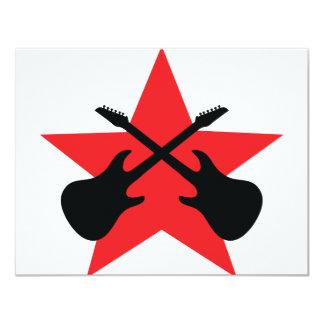 Red Star crossed guitars 4.25x5.5 Paper Invitation Card