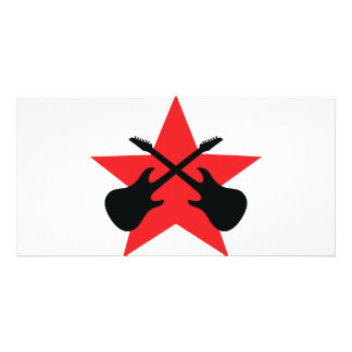 Red Star crossed guitars Customized Photo Card