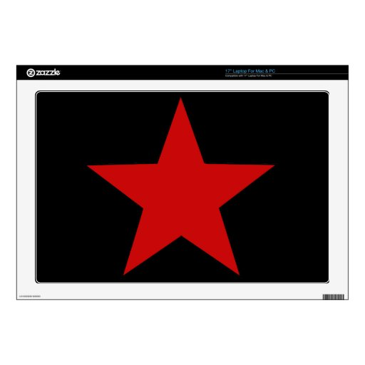 "Red Star Decals For 17"" Laptops"