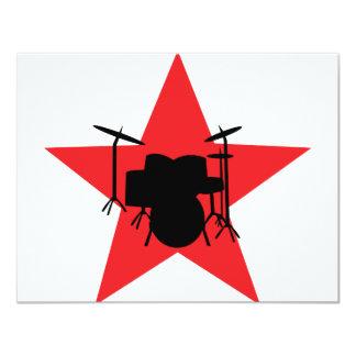 red star drum drummer 4.25x5.5 paper invitation card