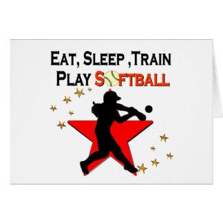 RED STAR EAT, SLEEP, TRAIN SOFTBALL DESIGN CARD