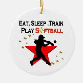 RED STAR EAT, SLEEP, TRAIN SOFTBALL DESIGN CERAMIC ORNAMENT