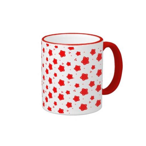 Red Star Flower Pattern Ringer Coffee Mug