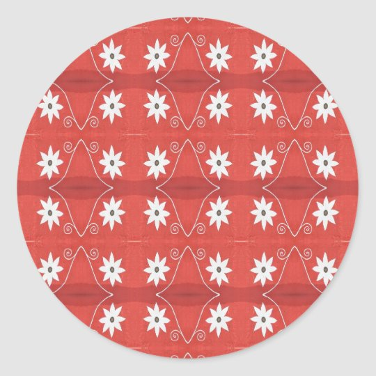 red star flowers classic round sticker