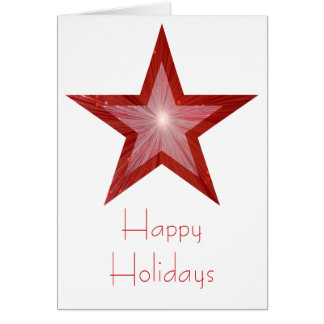 Red Star 'Happy Holidays' card white vertical