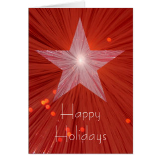 Red Star 'Happy Holidays' vertical greetings card