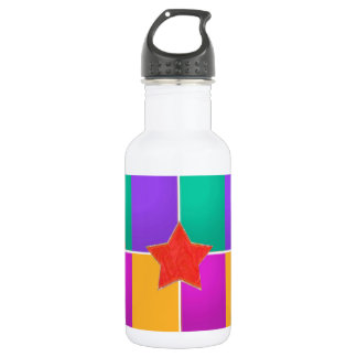 RED STAR in colorful background : LOWPRICE 18oz Water Bottle