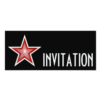 Red Star 'INVITATION' black long Card