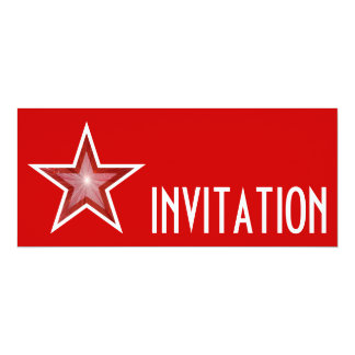 Red Star 'INVITATION' red long Card