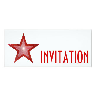 Red Star 'INVITATION' white long Card