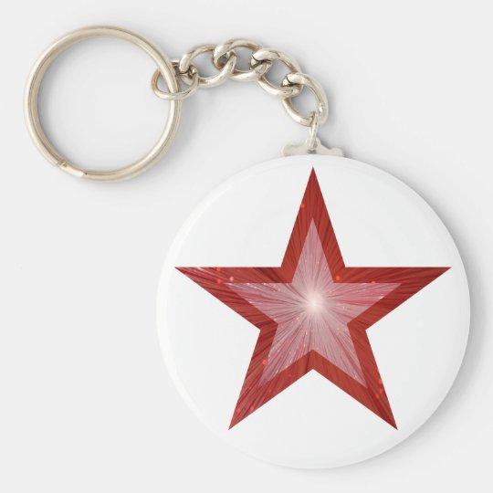Red Star keychain white