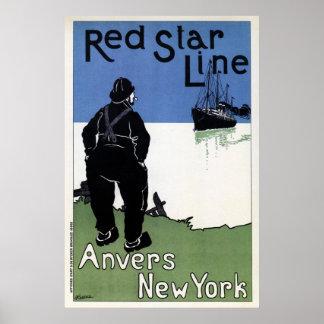 Red Star Line, Antwerp New York ocean passenger li Poster