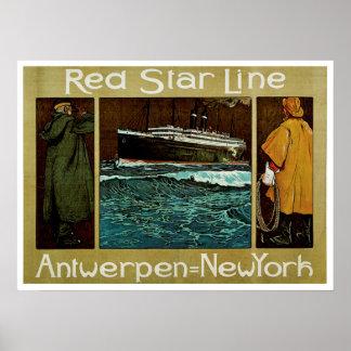 Red Star Line ~ Antwerpen=New York Poster