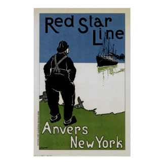 Red Star Line ~ Anvers-New York Poster