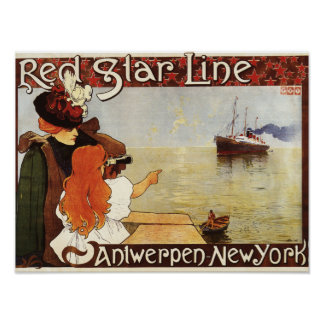Red Star Line Cruises to New York Promo Poster