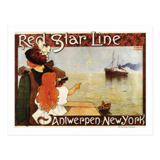 Red Star Line Cruises to New York Promo Poster Postcard