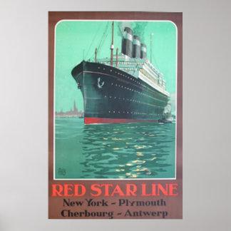 Red Star line titanic vintage advertisement Poster