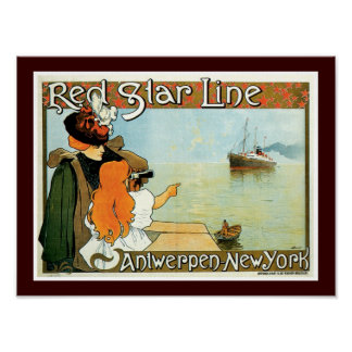 Red Star Line Woman with Girl Ad Poster