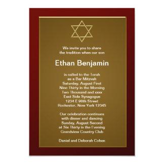 Red Star of David Bar Mitzvah Personalized Invitation