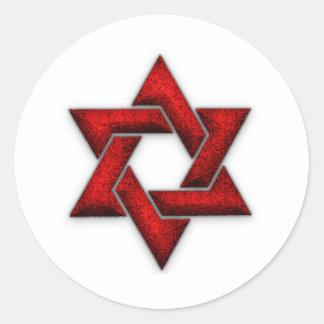 Red Star of David Classic Round Sticker