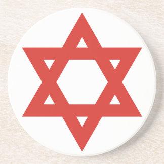 Red Star Of David, Israel flag Beverage Coaster