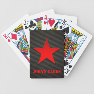 Red Star on Black Carbon Fiber Bicycle Playing Cards
