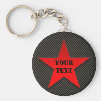 Red Star on Black Carbon Fiber Keychain