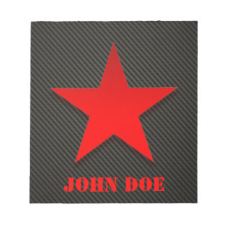 Red Star on Black Carbon Fiber Notepad