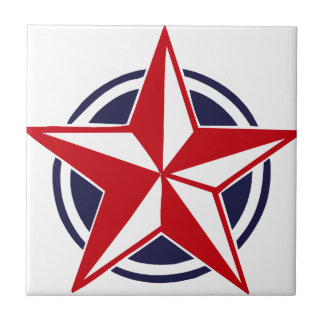 Red Star on Blue Circle Small Square Tile